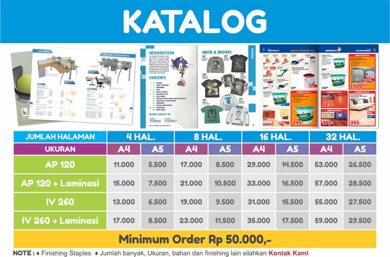 Daftar Harga Cetak Katalog