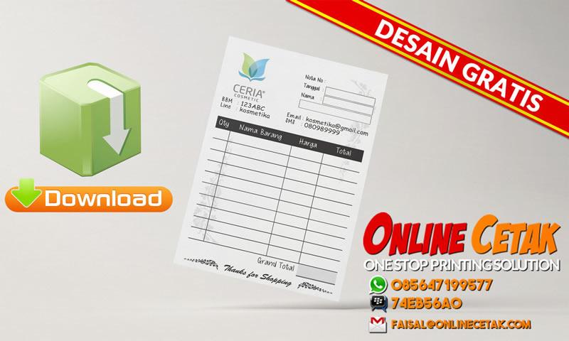 Download Gratis Desain Nota Toko Kosmetik