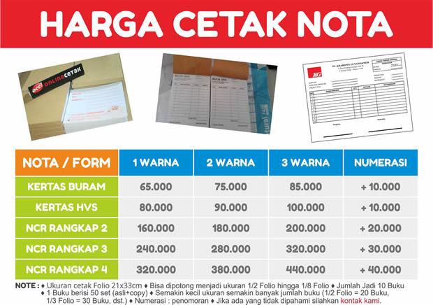 Daftar Biaya Cetak Nota Terbaru Percetakan Online