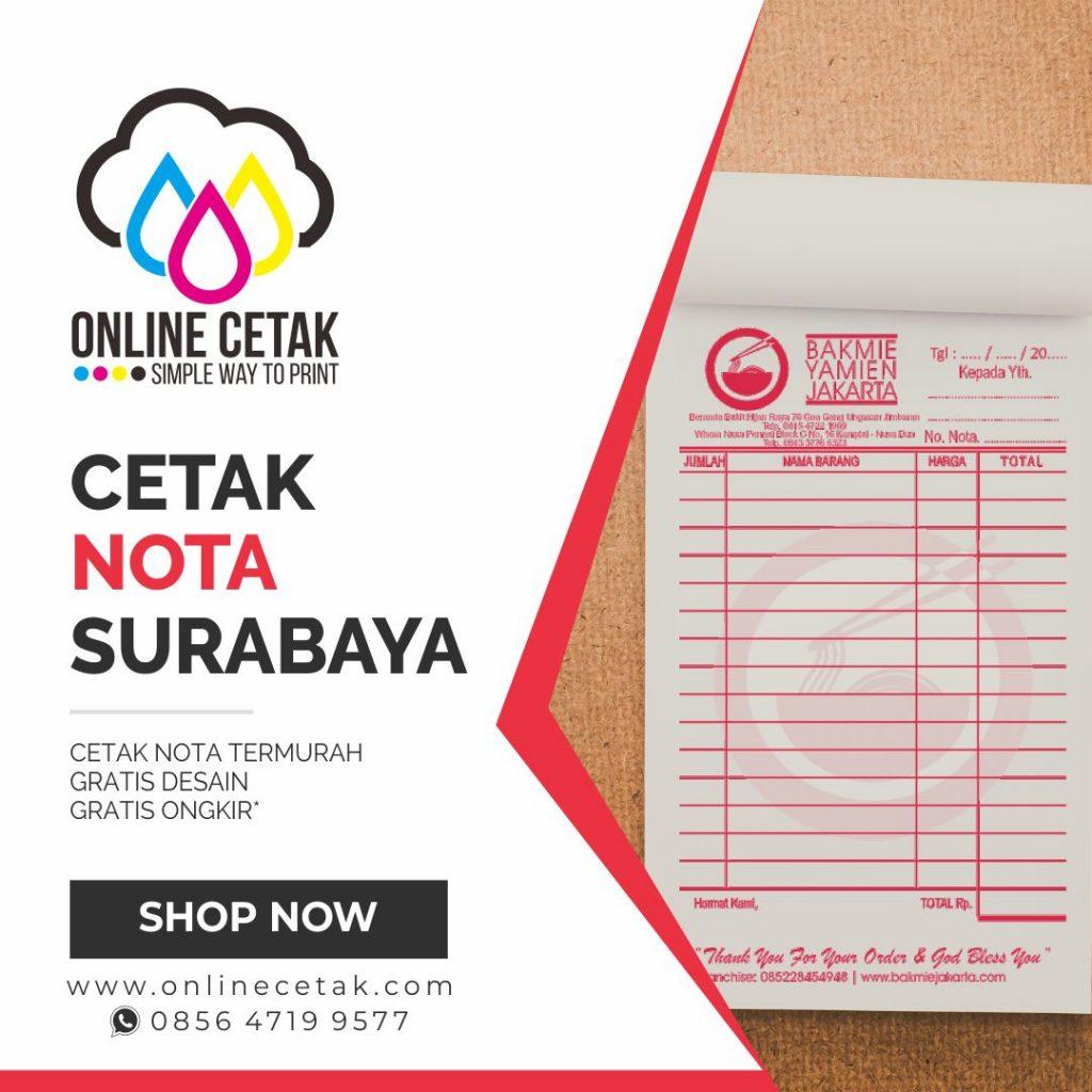 Jasa Cetak Nota Termurah Berkualitas Di Surabaya